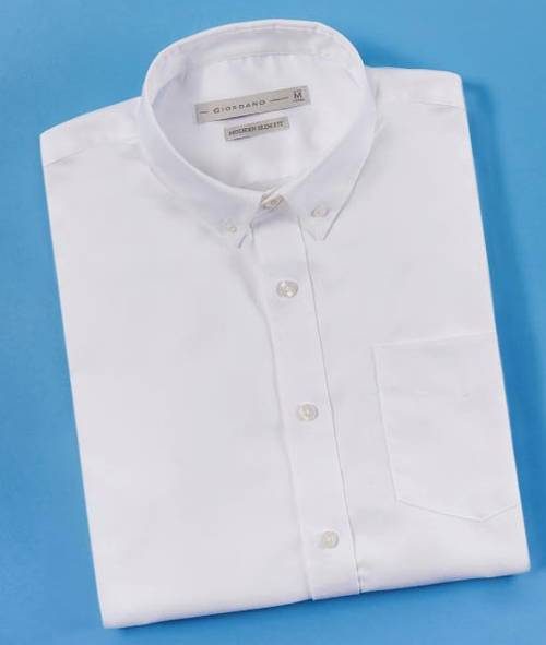 White Giordano Wrinkle Free Oxford Cotton Long Sleeves Office Shirt