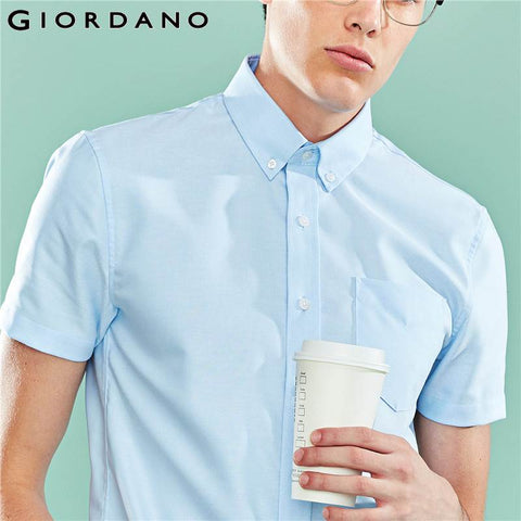 Blue Giordano Wrinkle Free Oxford Cotton Short Sleeves Office Shirt