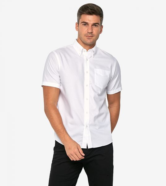 White Giordano Wrinkle Free Oxford Cotton Short Sleeves Office Shirt