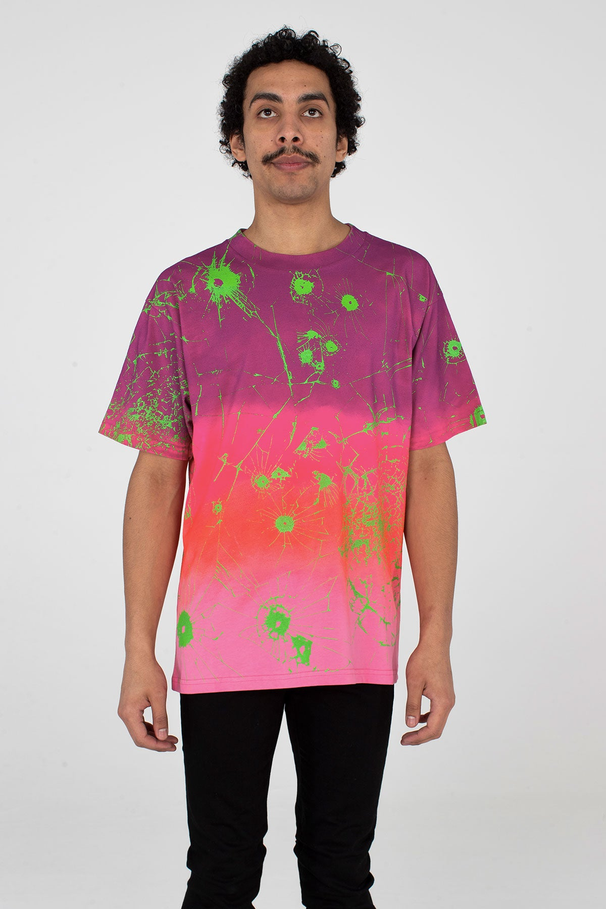 Festival T Shirt Multi Ombre Purple/Pink/ Ombre/ Lime Green - MJB