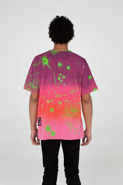 Festival T Shirt Multi Ombre Purple/Pink/ Ombre/ Lime Green