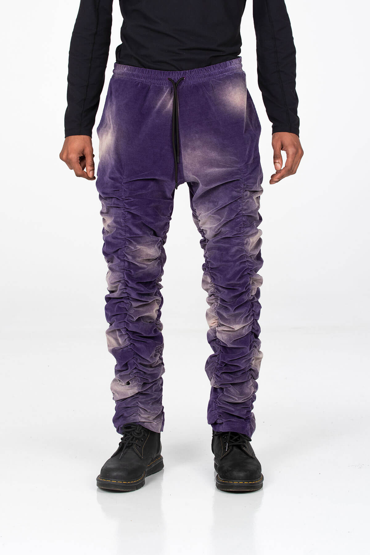 PURPLE VELVET STACK PANTS - BOTTOM - A/W 2020 - MJB