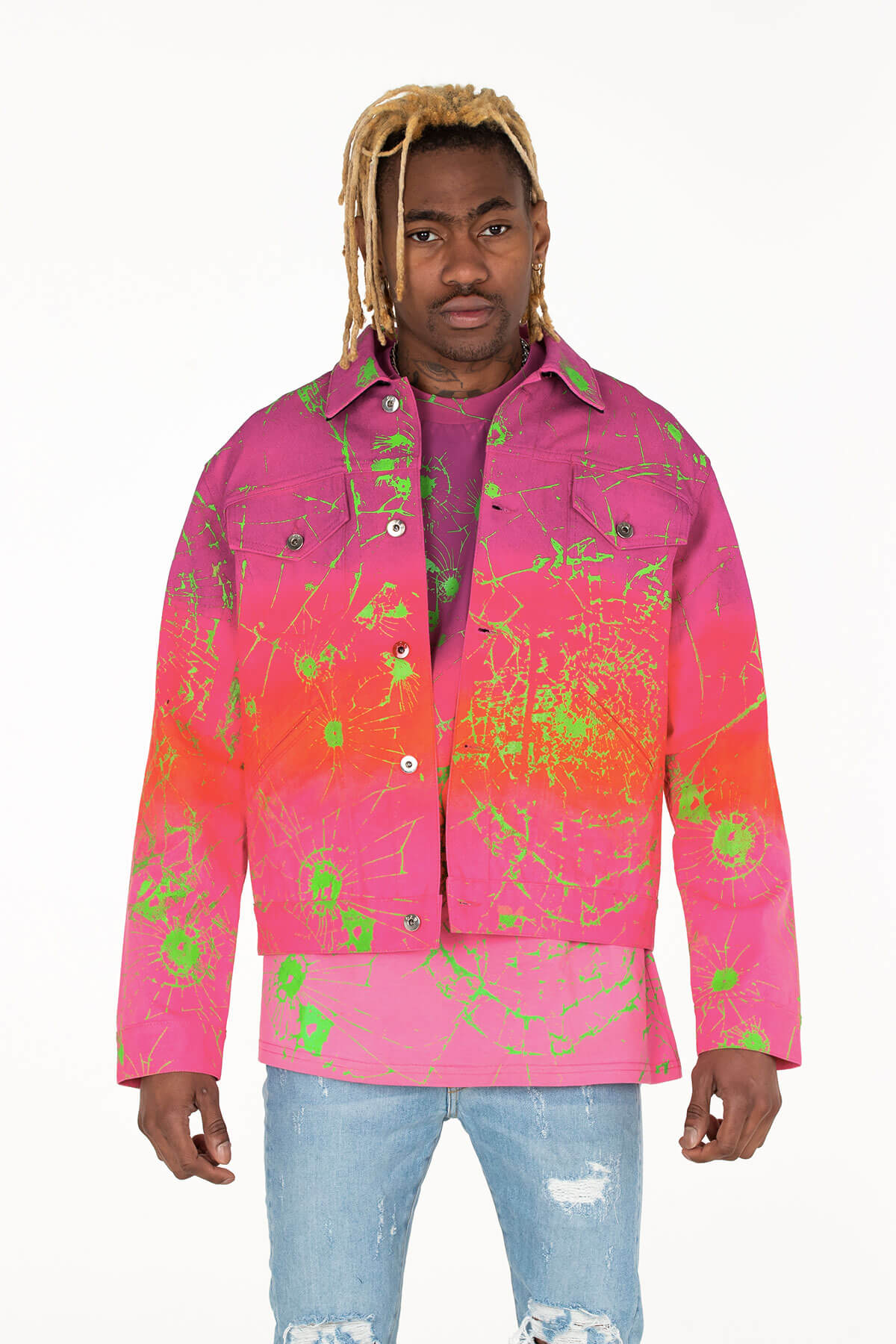 MULTI OMBRE PAX DENIM JACKET HAND CRAFTED - MJB