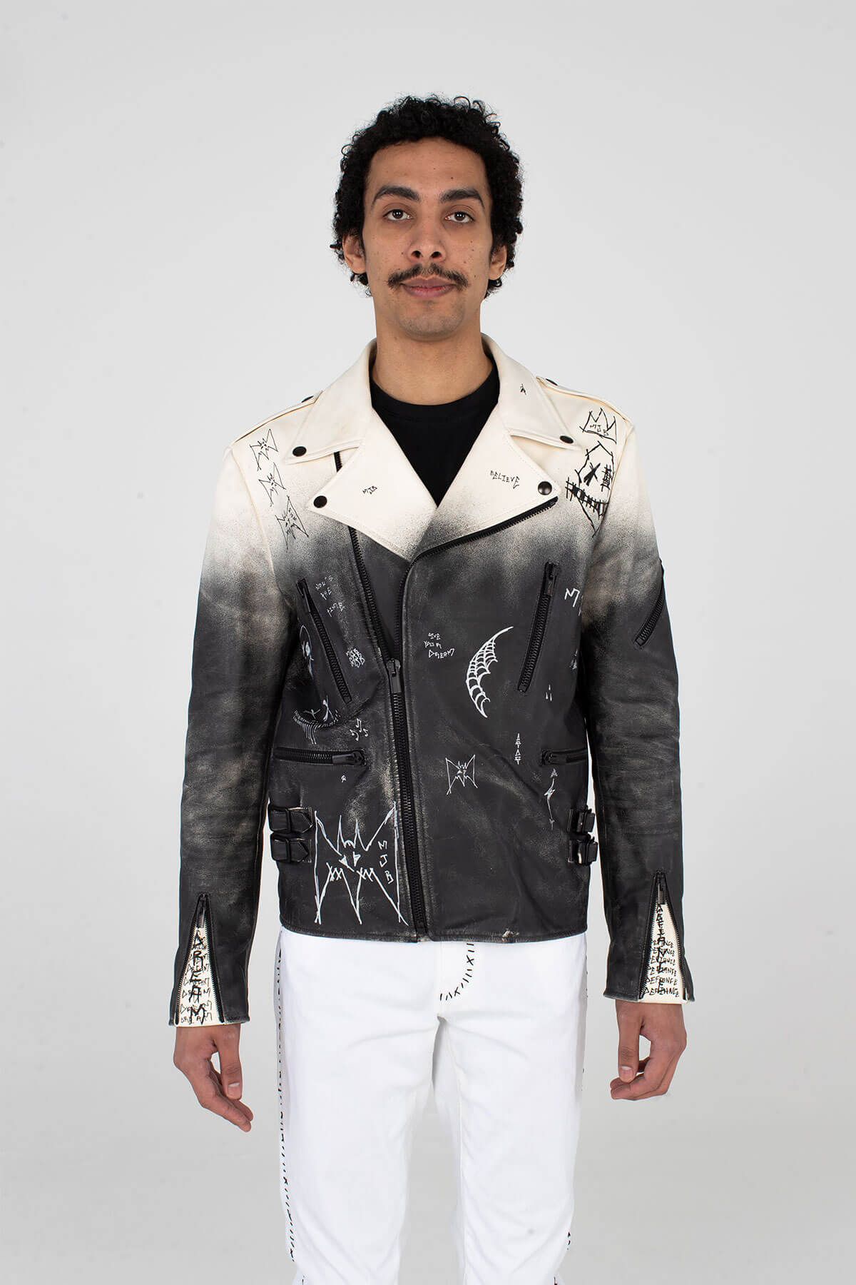 Classic Leather Biker - Hand Sprayed and Crafted - JACKET - MJB