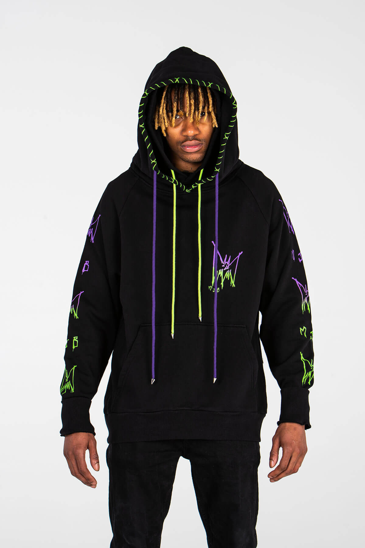 MULTI COLOURED SILK SCREEN PRINT - HOODIE - MJB