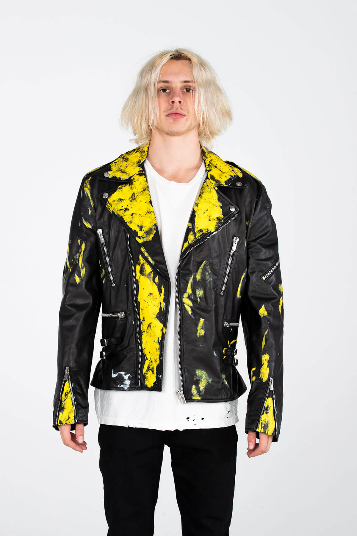 PAINTED BIKER JACKET – HAND PAINTED - ARCHIVE JACKET - MJB