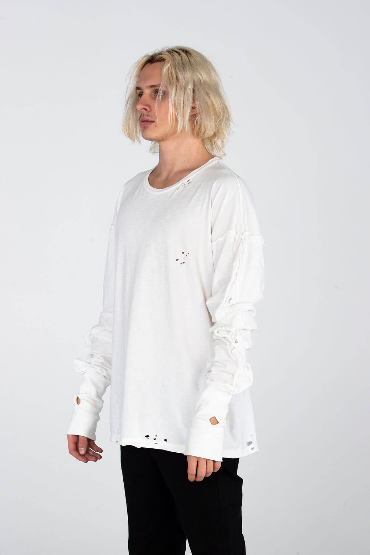 VINTAGE LONG SLEEVE T SHIRT – HAND DISTRESSED - TOP - MJB