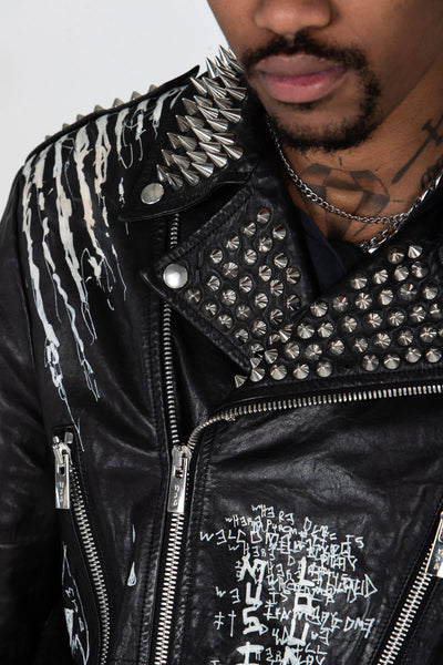 STUDDED BIKER JACKET – HAND PAINTED