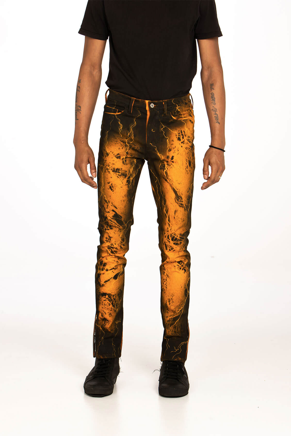 HAND SPRAYED/ CRAFTED ORANGE CRIXUS JEANS - BOTTOMS - MJB