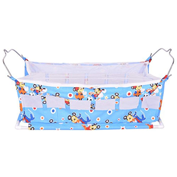 New Born Flat Bed Soft Cotton Cloth Swing Baby Cradle/Ghodiyu Hammock With Mosquito Net, Light Blue - IRA Furniture