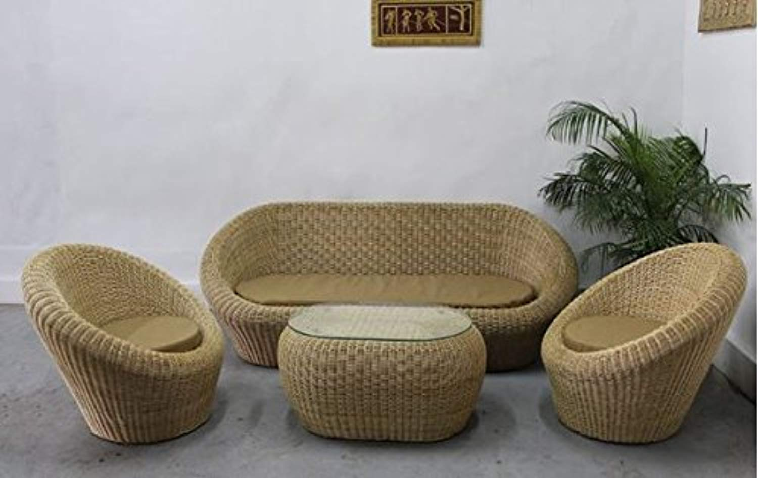 IRA Rattan Wicker Sofa Set (Natural) - IRA Furniture
