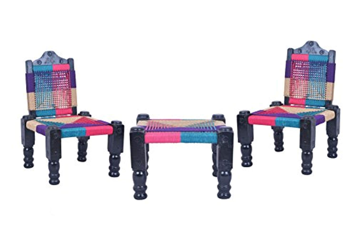 IRA High Wooden Back Foldable Chair & Khatli/Bajot Set Of 2 Chairs (Muti-Color) - IRA Furniture