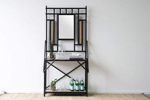 IRA Hall Stand with Mirror- Black - IRA Furniture