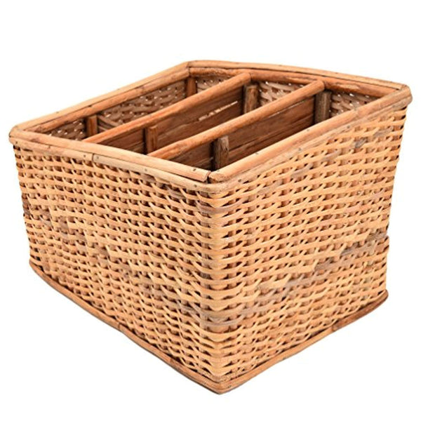 IRA Cane Handmade Multipurpose Basket/Magazine Stand Holder (Brown, Standard) - IRA Furniture