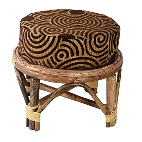 IRA Sparkling Cane Cushioned Stool Chair With Cushion, Brown - IRA Furniture