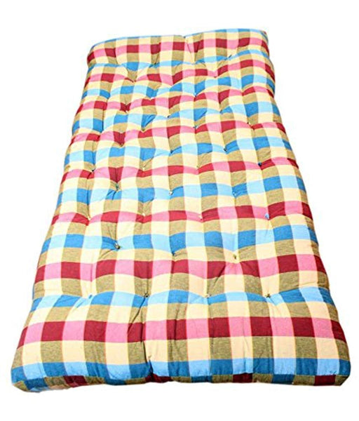 Ira Cotton Filled Mattress(Blue And Red) - IRA Furniture