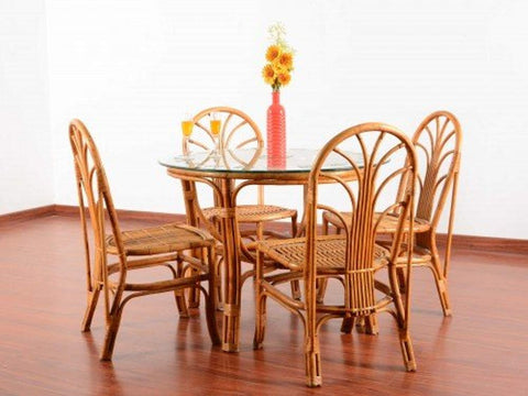 IRA Bamboo 4-Seater Dining Table Set - IRA Furniture