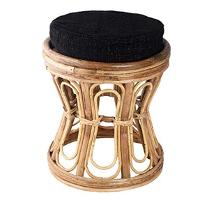 IRA Hand Carved Charming Wood Cushioned Stool, Brown - IRA Furniture