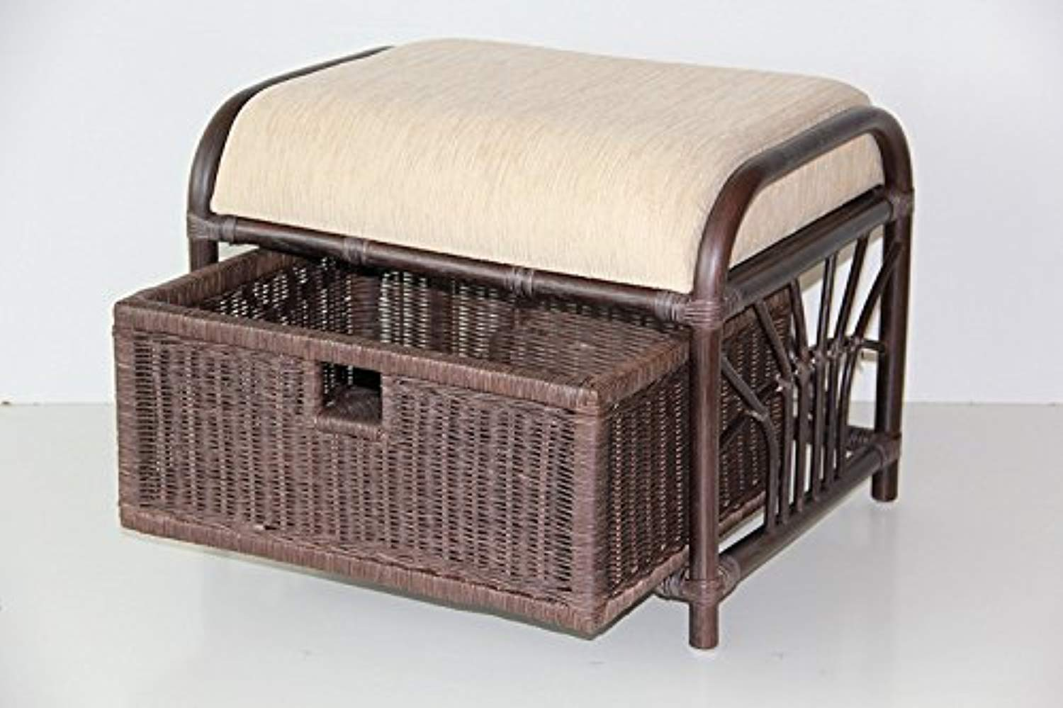 IRA Handmade Rattan Wicker Ottoman Footstool - IRA Furniture