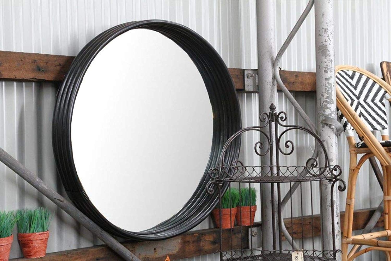IRA Black Satin Frame Mirror - IRA Furniture