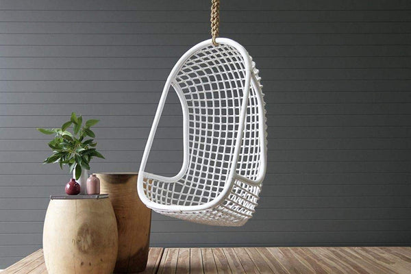 IRA Rattan Hanging Chair (White) - IRA Furniture