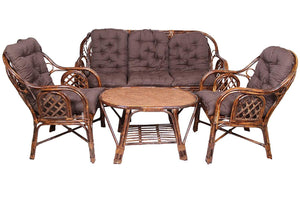 IRA Living Room 5 Seater Rattan Modern Cage Style Sofa Set with Table and Cushion - IRA Furniture