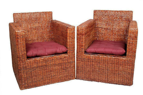 IRA Wicker Square Styled Arm Chair Set with Cushion - IRA Furniture