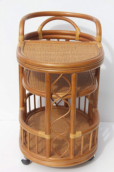 IRA Serving Cart Handmade Woven Natural Rattan Wicker with Wheels Light Brown - IRA Furniture