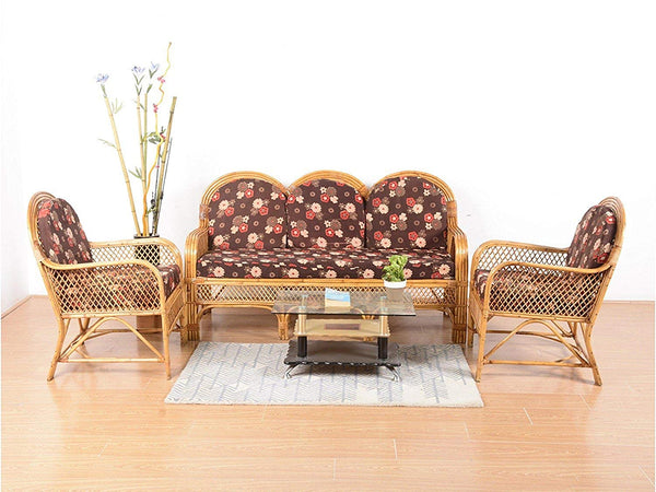 IRA Natural Rattan Cane 3 Seater Sofa Set and 2 Single Seater Chair with Cushions (Brown) - IRA Furniture
