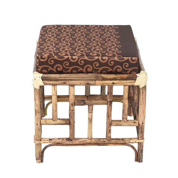 IRA Elegant Brown Cane Stool Chairs With Cushion - IRA Furniture