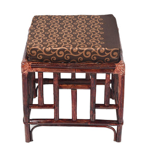 IRA Cane Stool for Sitting with Cushion (Brown) - IRA Furniture