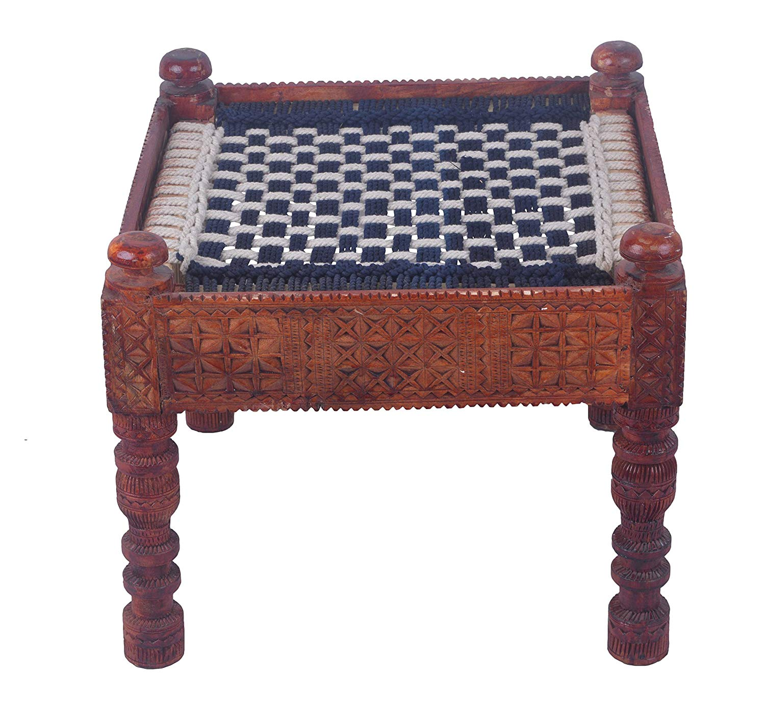 IRA Wooden Handcrafted Chowki Khatli Stool - IRA Furniture