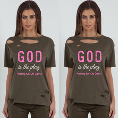 God is the Plug! Distressed Tee