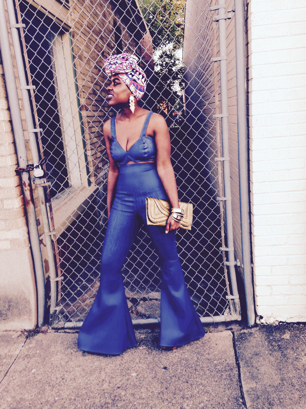 "2 pc- ""Charlie"" Denim High Waist Bell Bottom Pant & Bralette"