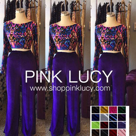 """Plush"" Velvet High Waist Wide Leg Trouser"