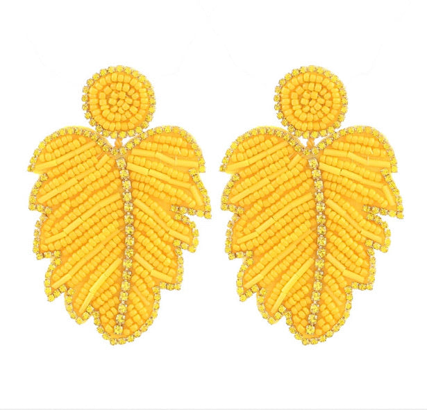 Beaded Leaf Danglers