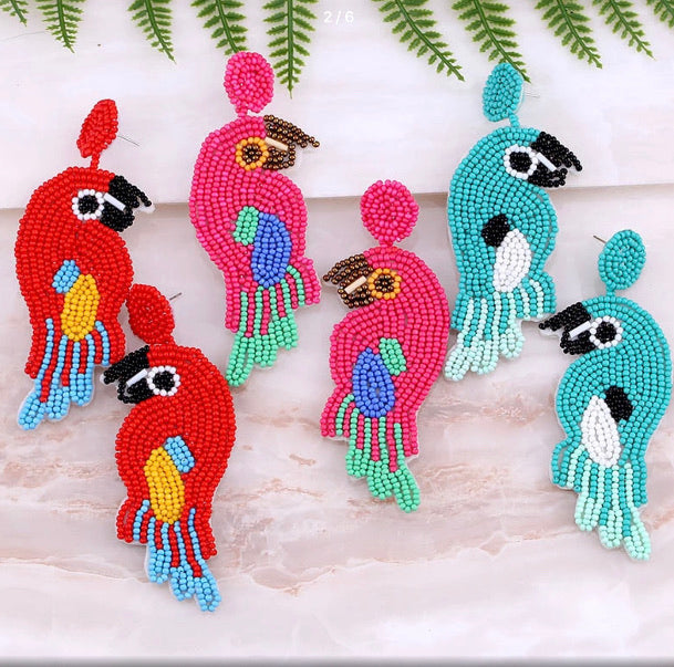 Beaded Tropical Parrots