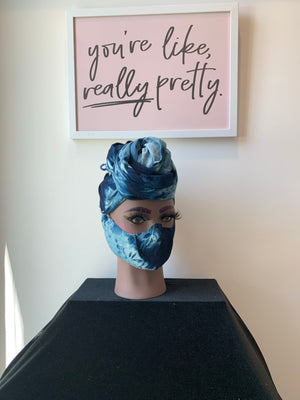Whirlwind Denim Tie Dye- Face and Head Crown