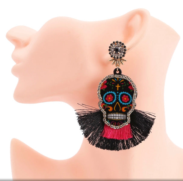 Skulled Fringed Earrings
