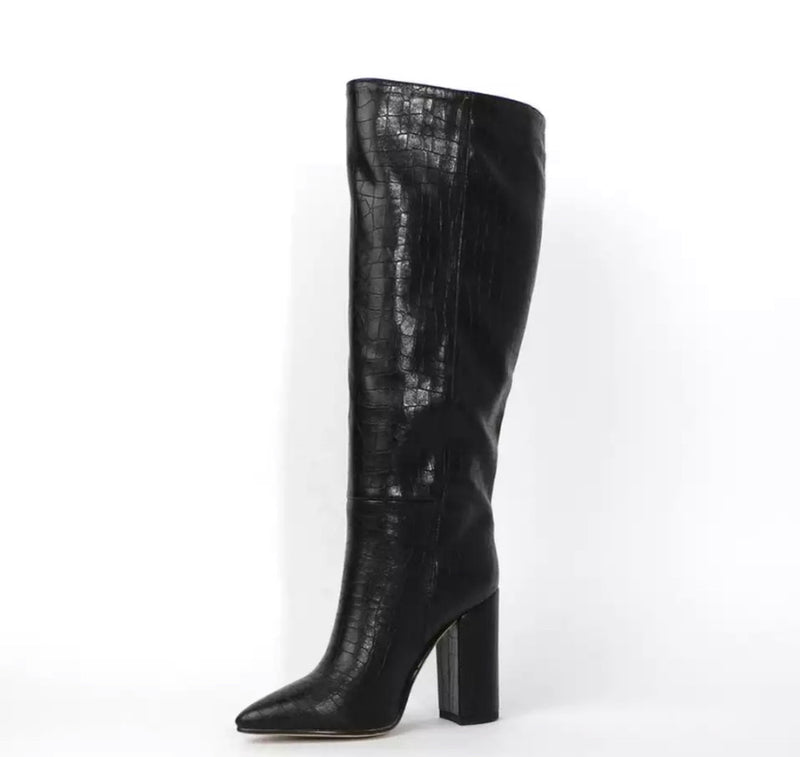 Stacked MidCalf Snakeskin Heeled Boot