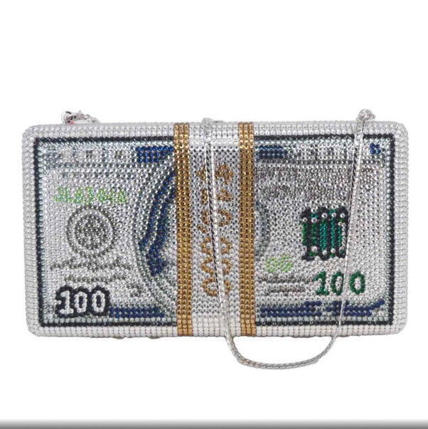 It's All About The Benjamins Rhinestone Clutch