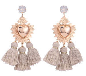Gold Heart Fringe Danglers