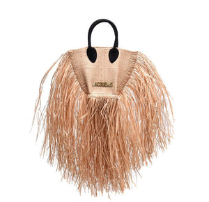 Black Handled Sand Fringe Bag