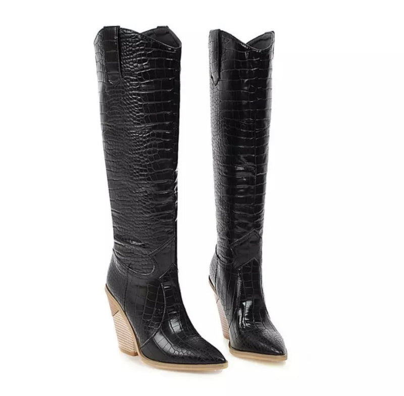 Ride Them! Faux Snakeskin Boots