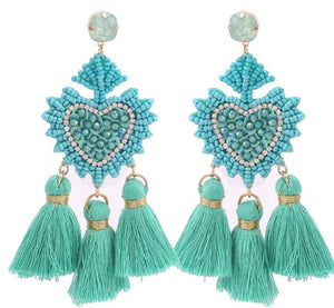 Beaded Teal Fringe Danglers