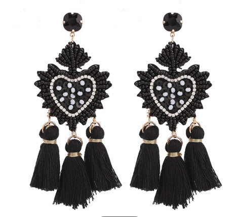 Black & White Heart Shaped Fringe Danglers