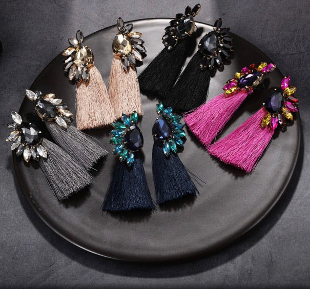 Side Studded Fringed Danglers