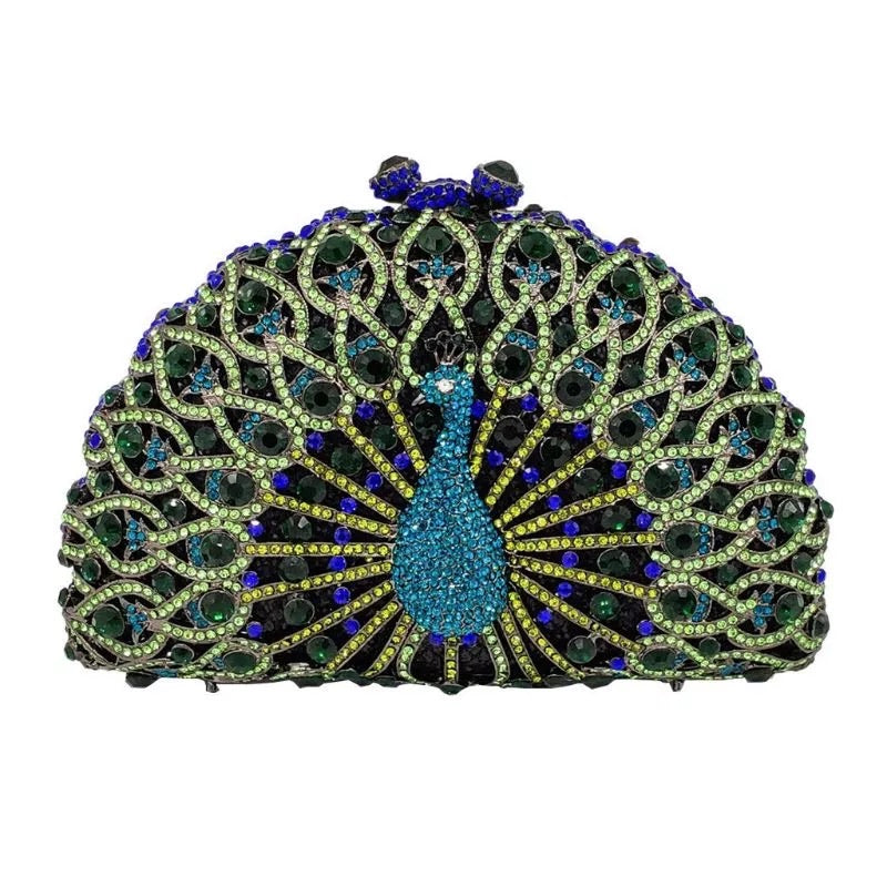 Studded Feathered Peacock Clutch