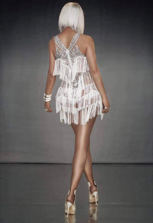 White Party Fringe Dress