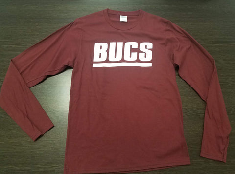 "Maroon""Super Soft""  Cotton Long Sleeve BUCS t-shirt"